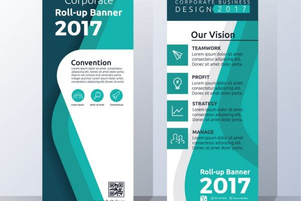 Vertical Roll Up Banner Template Design for Announce and Advertising. Abstract green Color Scheme Layout Template. Vector illustration